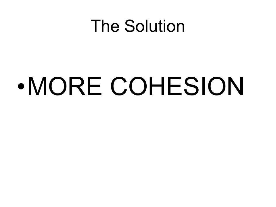 The Solution MORE COHESION