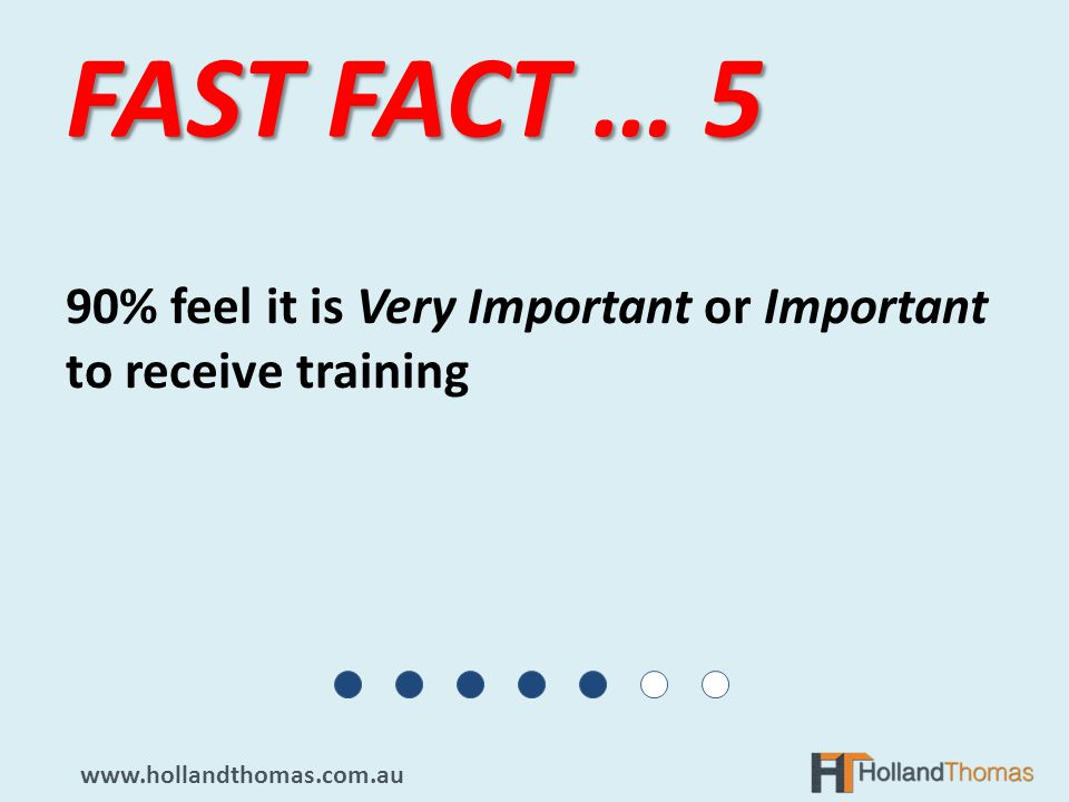 90% feel it is Very Important or Important to receive training FAST FACT … 5 www.hollandthomas.com.au