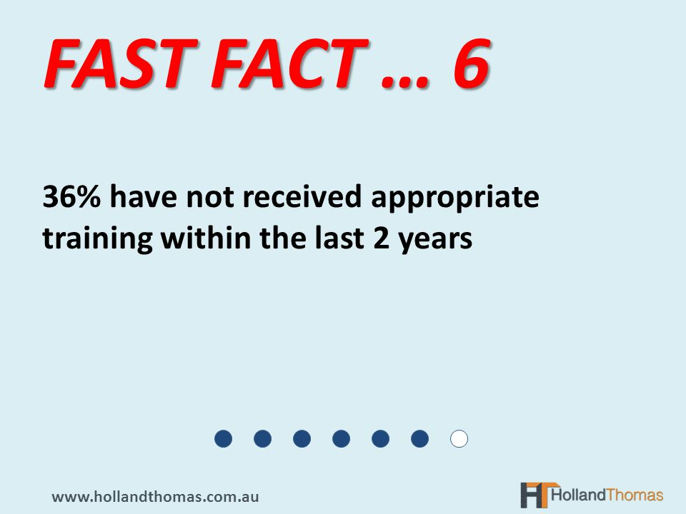 36% have not received appropriate training within the last 2 years FAST FACT … 6 www.hollandthomas.com.au