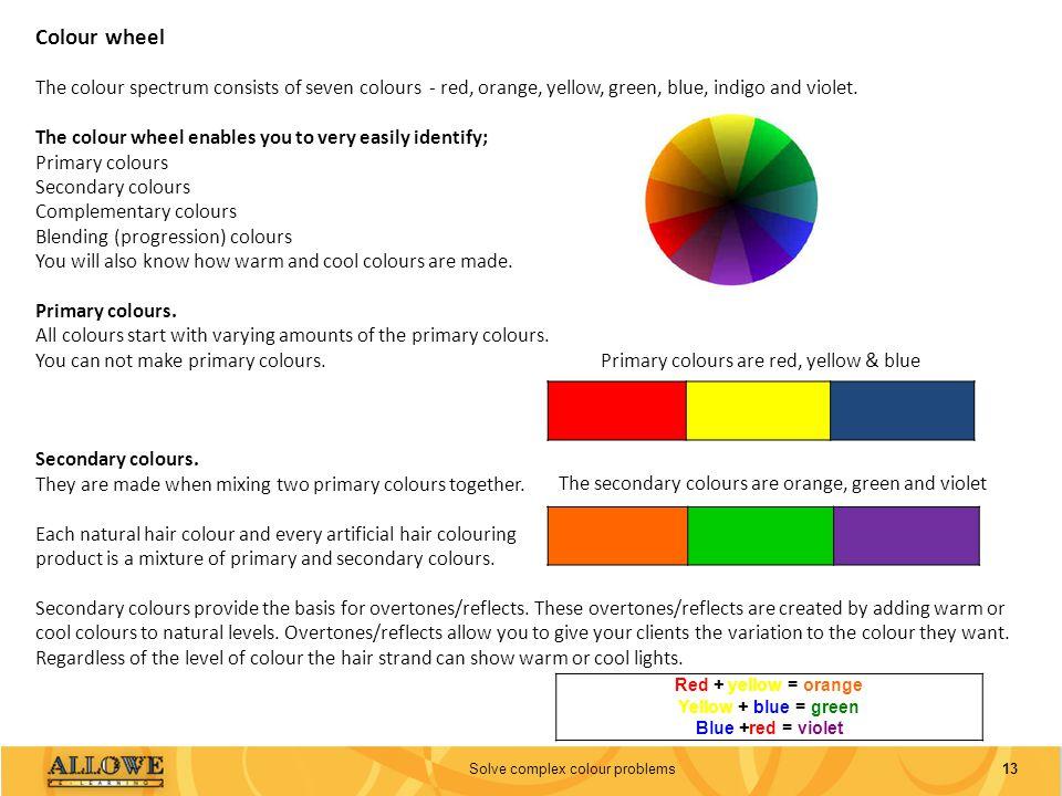 13Solve complex colour problems Colour wheel The colour spectrum consists of seven colours - red, orange, yellow, green, blue, indigo and violet. The