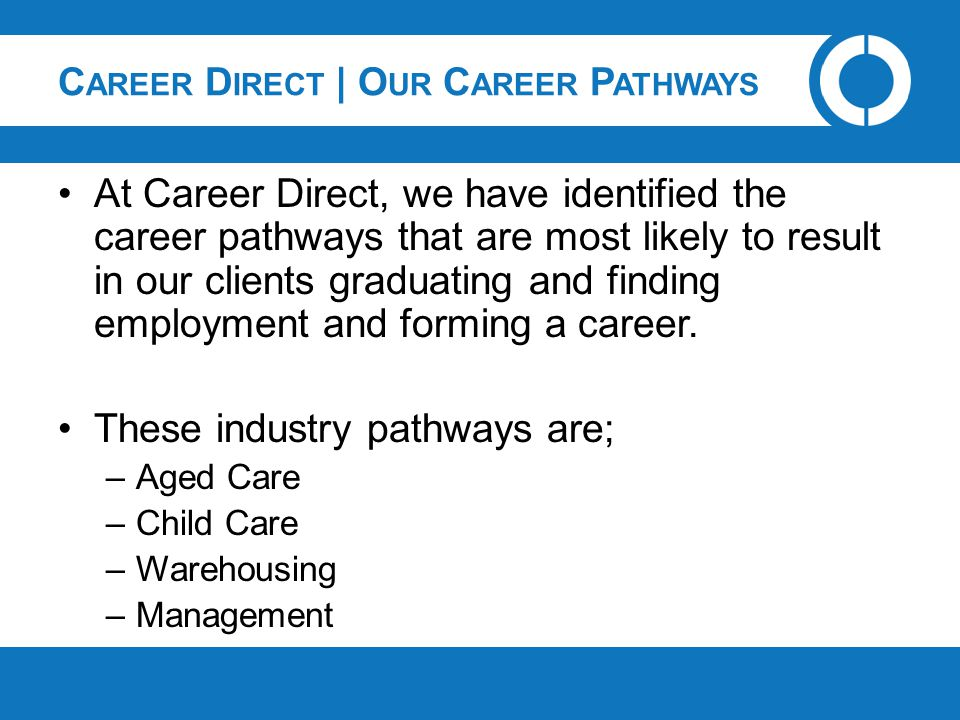 C AREER D IRECT | O UR C AREER P ATHWAYS At Career Direct, we have identified the career pathways that are most likely to result in our clients gradua