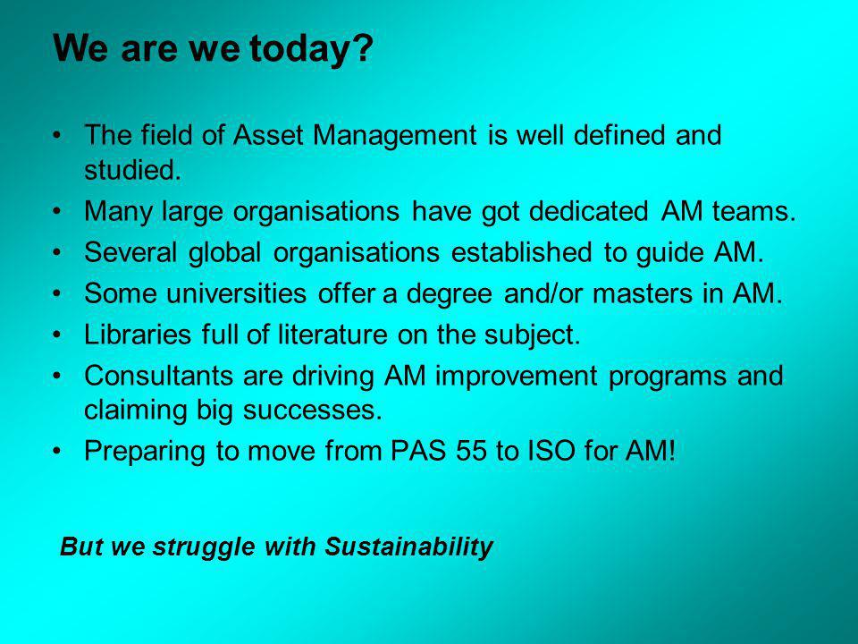 We are we today. The field of Asset Management is well defined and studied.