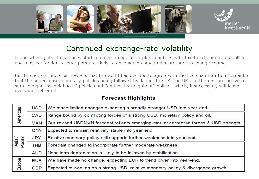 Continued exchange-rate volatility If and when global imbalances start to creep up again, surplus countries with fixed exchange rates policies and mas