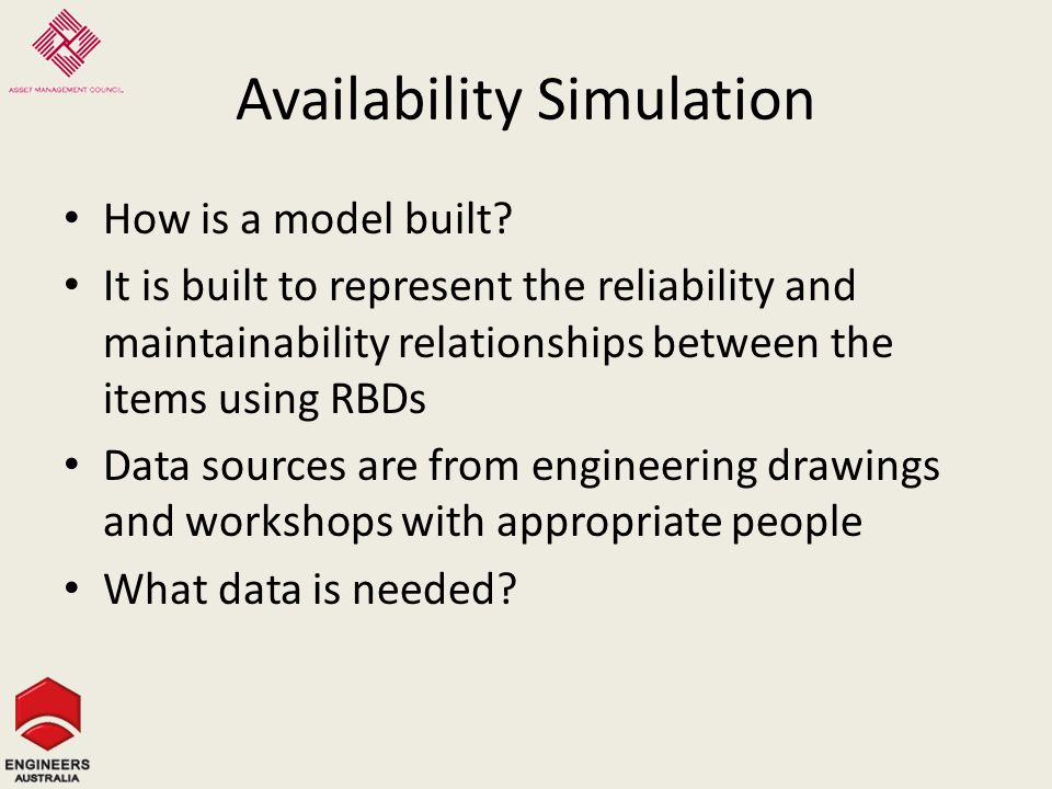 Availability Simulation How is a model built.