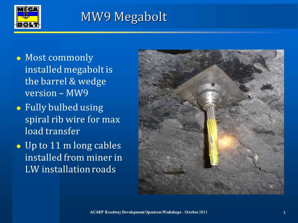 MW9 Megabolt ● Most commonly installed megabolt is the barrel & wedge version – MW9 ● Fully bulbed using spiral rib wire for max load transfer ● Up to