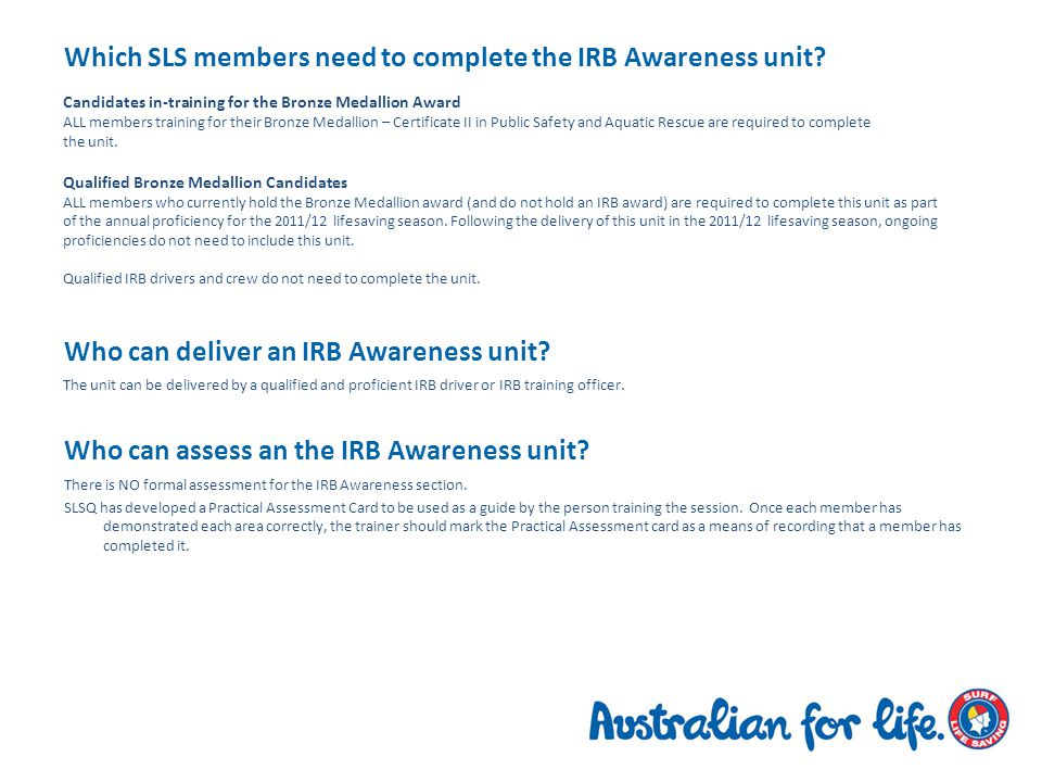 Which SLS members need to complete the IRB Awareness unit.