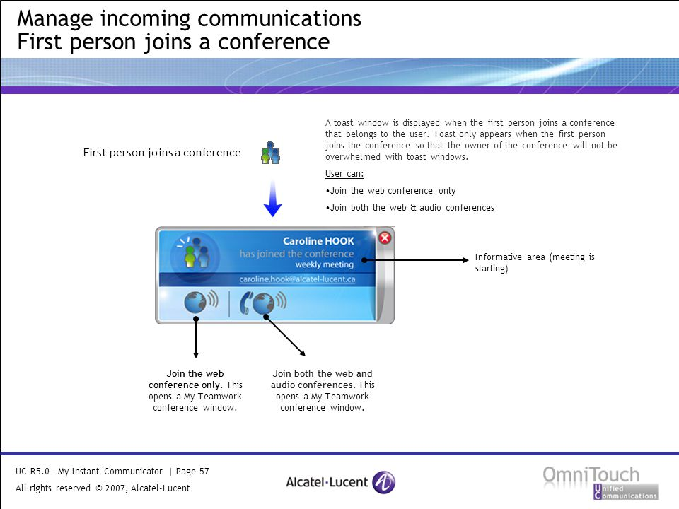 UC R5.0 – My Instant Communicator | Page 57 All rights reserved © 2007, Alcatel-Lucent 2006 Manage incoming communications First person joins a conference First person joins a conference A toast window is displayed when the first person joins a conference that belongs to the user.