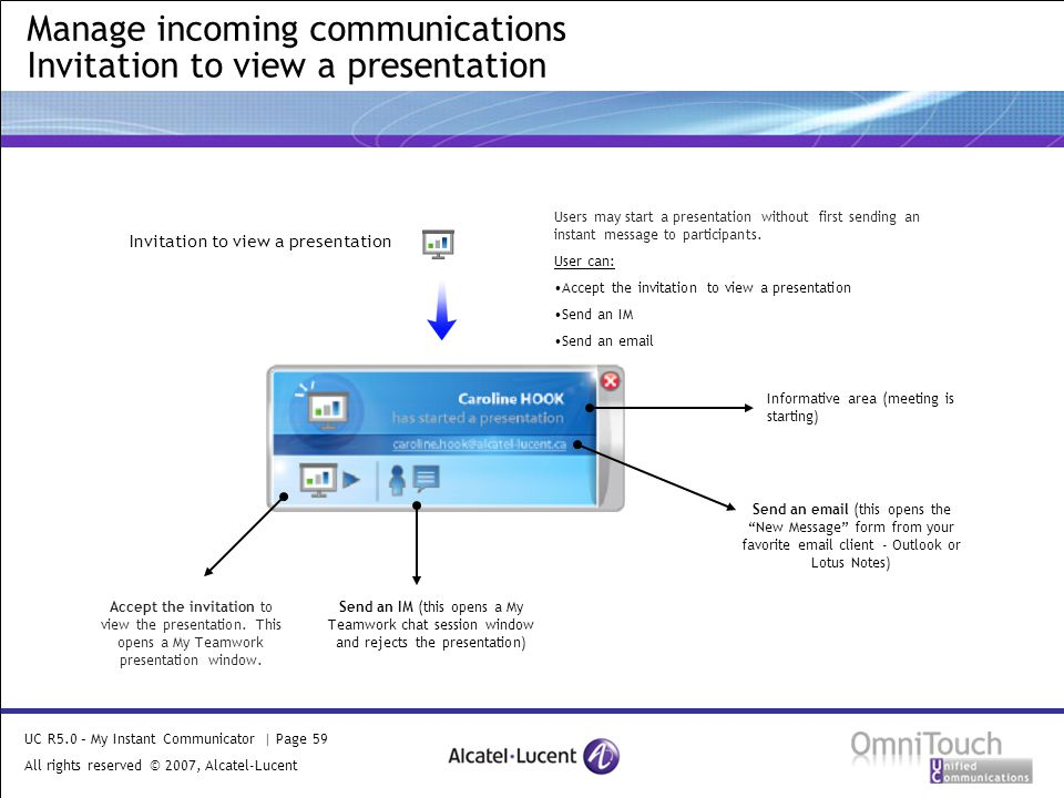 UC R5.0 – My Instant Communicator | Page 59 All rights reserved © 2007, Alcatel-Lucent 2006 Manage incoming communications Invitation to view a presentation Invitation to view a presentation Informative area (meeting is starting) Accept the invitation to view the presentation.