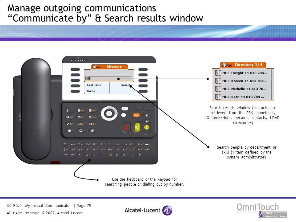 UC R5.0 – My Instant Communicator | Page 79 All rights reserved © 2007, Alcatel-Lucent 2006 Manage outgoing communications Communicate by & Search results window Use the keyboard or the keypad for searching people or dialing out by number.