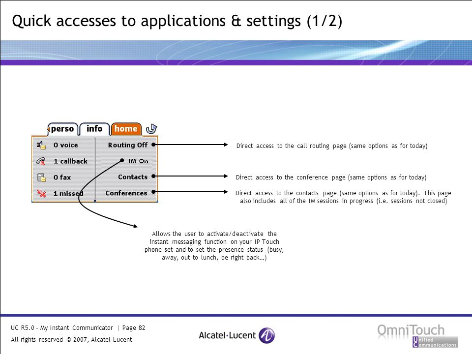 UC R5.0 – My Instant Communicator | Page 82 All rights reserved © 2007, Alcatel-Lucent 2006 Quick accesses to applications & settings (1/2) Direct access to the conference page (same options as for today) Direct access to the contacts page (same options as for today).