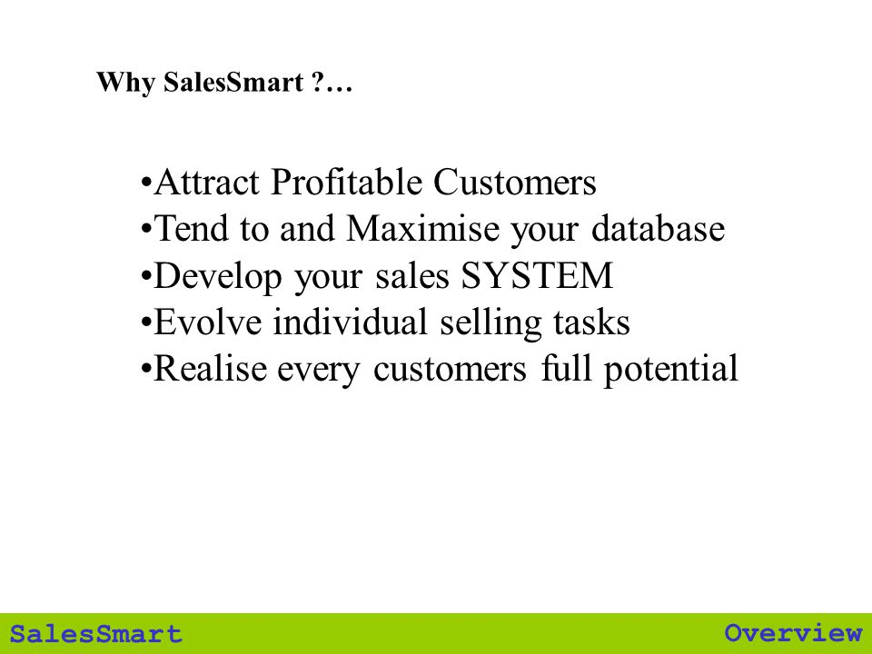 Overview SalesSmart presenting Steve Costa Successful By Design CEO