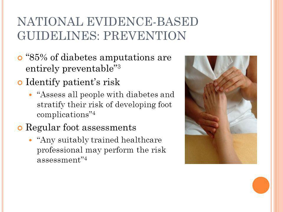 NATIONAL EVIDENCE-BASED GUIDELINES: MANAGEMENT Pressure reduction optimises healing of foot ulcers 4 People with diabetes-related foot ulceration are best managed by a multi-disciplinary foot care team 4 Deep ulcers (probe to tendon/bone) 4 weeks' duration Absence of foot pulses Ascending cellulitis Suspected Charcot's neuroarthropathy