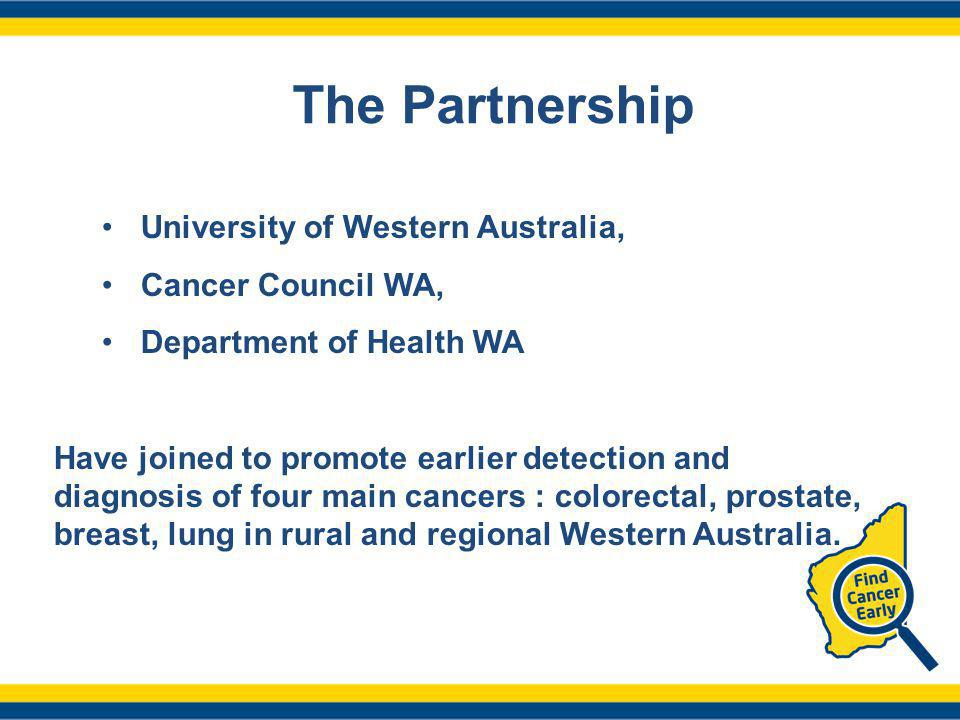 The Partnership University of Western Australia, Cancer Council WA, Department of Health WA Have joined to promote earlier detection and diagnosis of four main cancers : colorectal, prostate, breast, lung in rural and regional Western Australia.