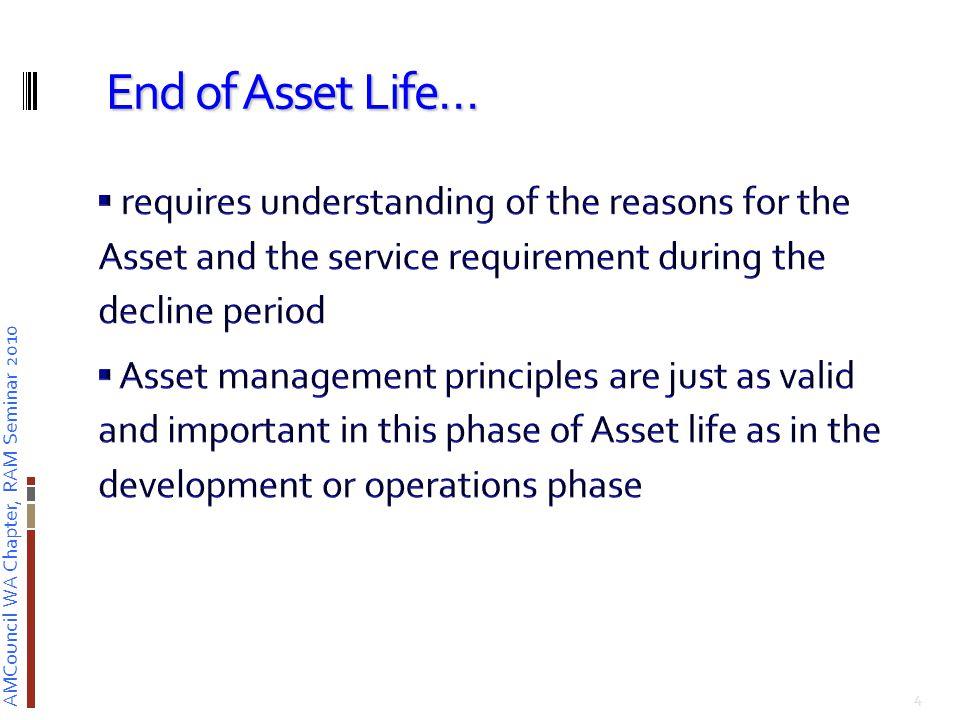 AMCouncil WA Chapter, RAM Seminar 2010 Asset Management applied Asset Life Extension Life Extension Planning 5