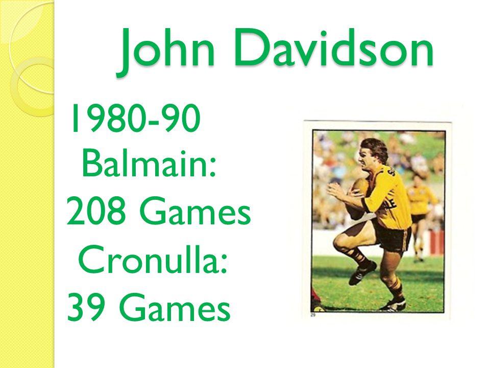 John Davidson 1980-90 Balmain: 208 Games Cronulla: 39 Games