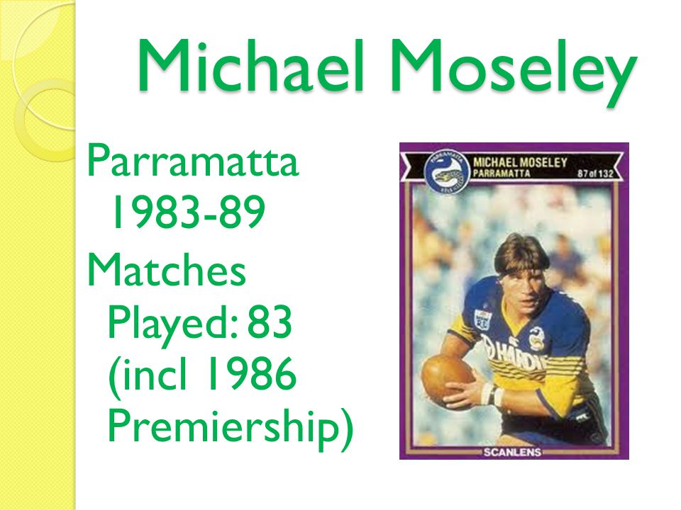 Mark Clinton Parramatta 1988-91 Matches Played: 41