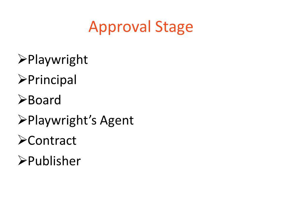 Approval Stage  Playwright  Principal  Board  Playwright's Agent  Contract  Publisher