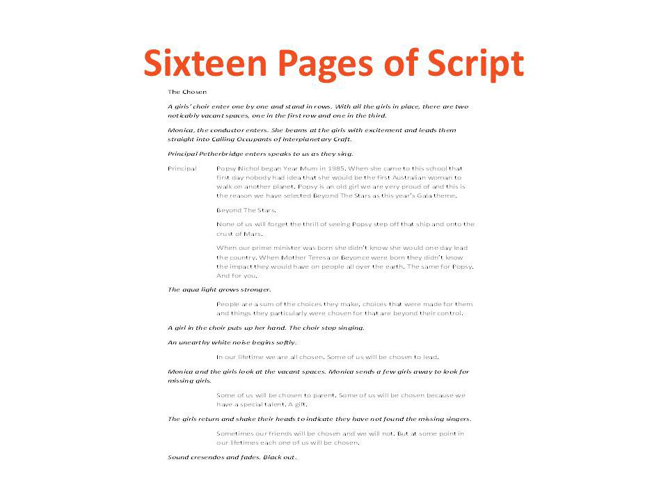 Sixteen Pages of Script