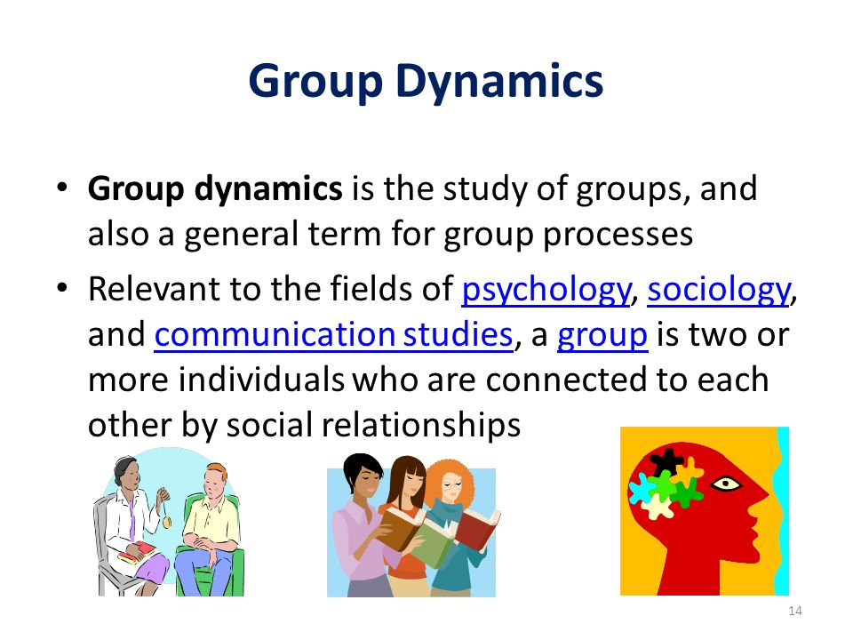 Group Dynamics Group dynamics is the study of groups, and also a general term for group processes Relevant to the fields of psychology, sociology, and