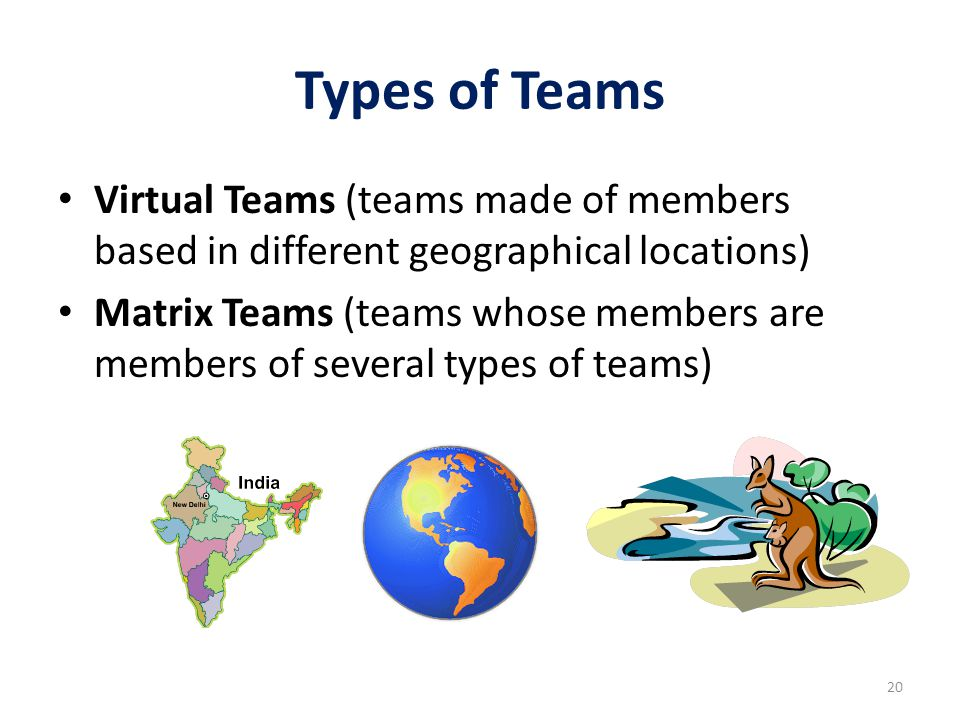 Types of Teams Virtual Teams (teams made of members based in different geographical locations) Matrix Teams (teams whose members are members of severa