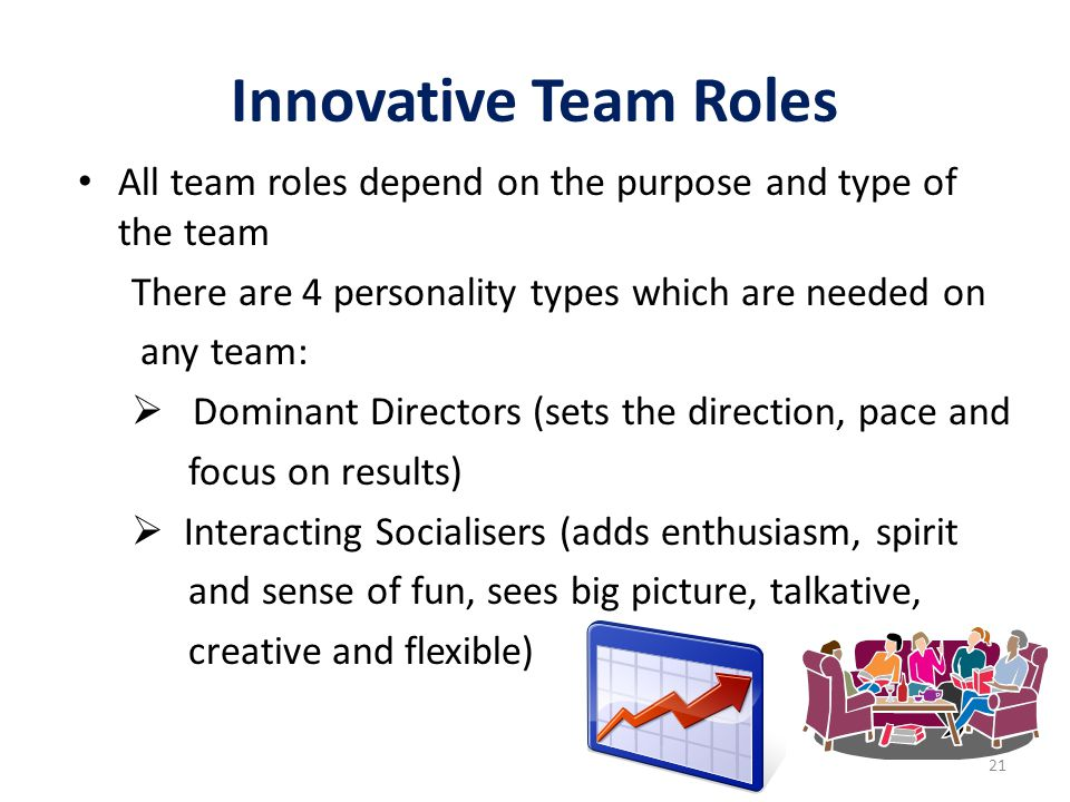 Innovative Team Roles All team roles depend on the purpose and type of the team There are 4 personality types which are needed on any team:  Dominant