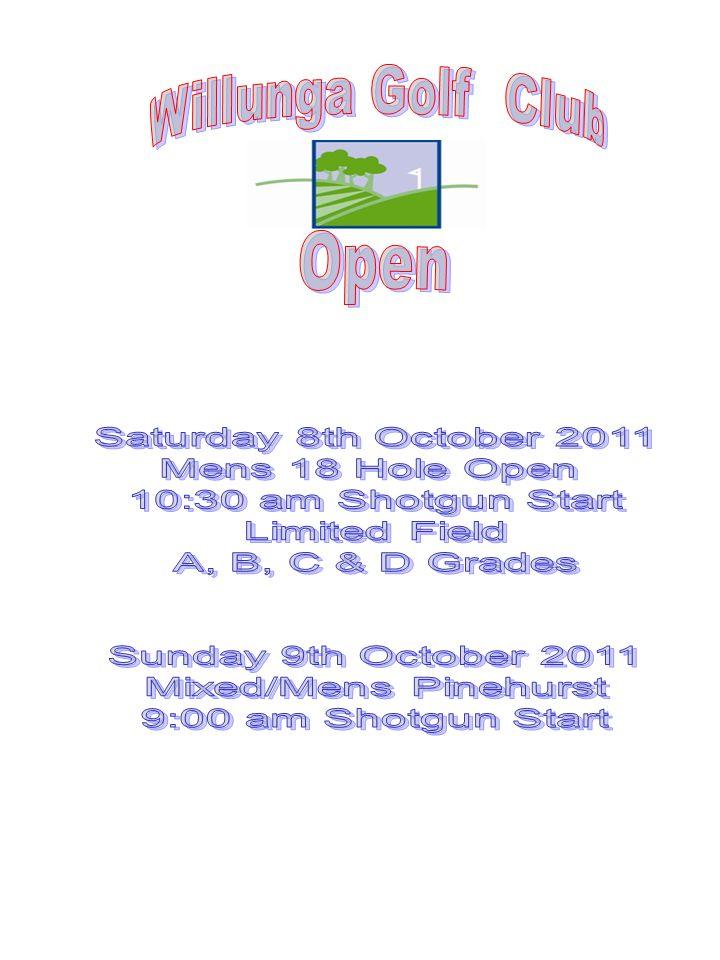 Entry form Willunga Golf Club Inc PO Box 186 WILLUNGA SA 5172 Saturday 8 th October – Mens Open Full Name ______________________ Hcp _____ Phone No.