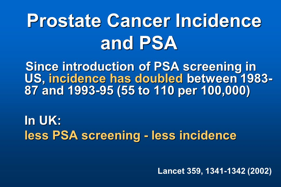 Prostate Cancer Incidence and PSA Prostate Cancer Incidence and PSA Since introduction of PSA screening in US, incidence has doubled between 1983- 87 and 1993-95 (55 to 110 per 100,000) In UK: less PSA screening - less incidence Lancet 359, 1341-1342 (2002)