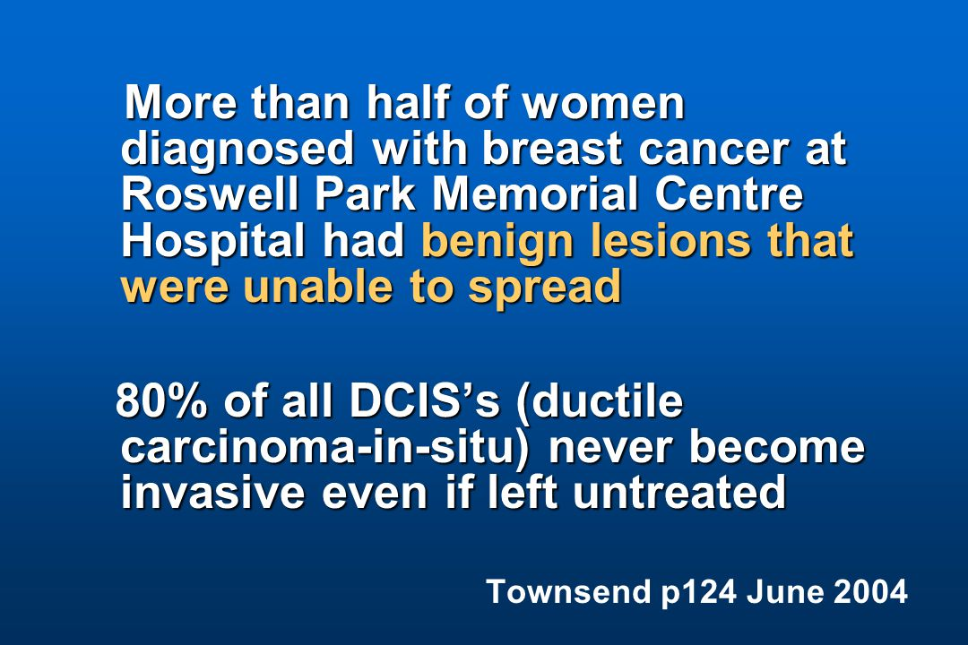 More than half of women diagnosed with breast cancer at Roswell Park Memorial Centre Hospital had benign lesions that were unable to spread 80% of all DCIS's (ductile carcinoma-in-situ) never become invasive even if left untreated 80% of all DCIS's (ductile carcinoma-in-situ) never become invasive even if left untreated Townsend p124 June 2004