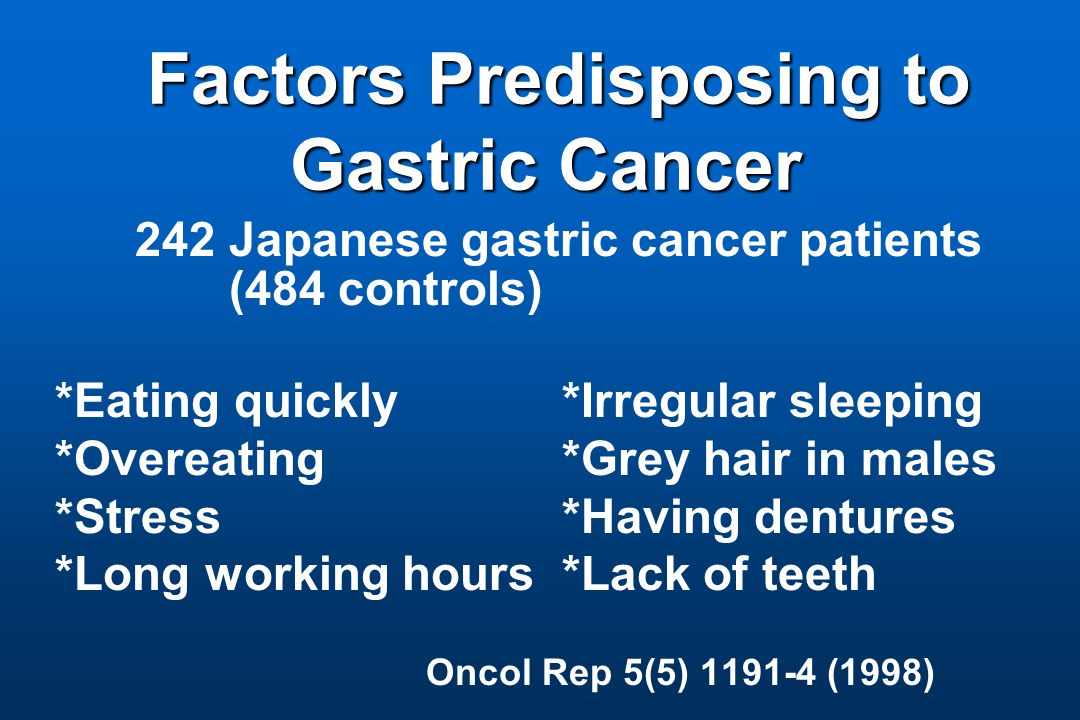 Factors Predisposing to Gastric Cancer Factors Predisposing to Gastric Cancer 242 Japanese gastric cancer patients (484 controls) *Eating quickly *Irregular sleeping *Overeating *Grey hair in males *Stress *Having dentures *Long working hours *Lack of teeth Oncol Rep 5(5) 1191-4 (1998)