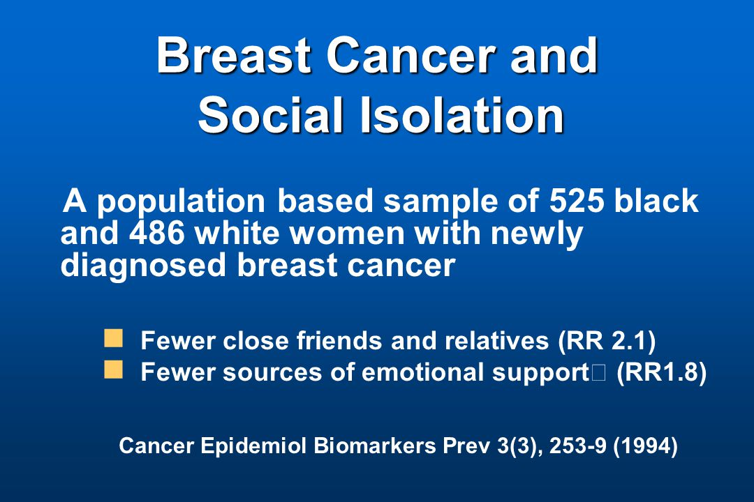 Breast Cancer and Social Isolation Breast Cancer and Social Isolation A population based sample of 525 black and 486 white women with newly diagnosed breast cancer Fewer close friends and relatives (RR 2.1) Fewer sources of emotional support (RR1.8) Cancer Epidemiol Biomarkers Prev 3(3), 253-9 (1994)