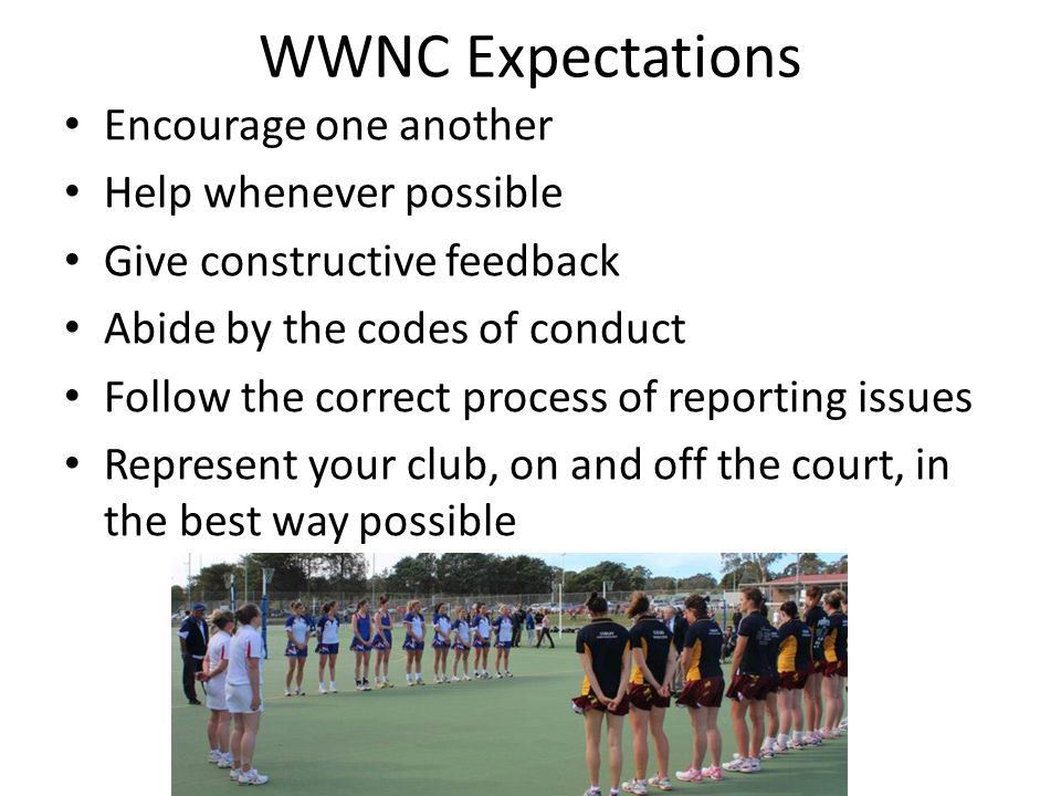 WWNC Expectations Encourage one another Help whenever possible Give constructive feedback Abide by the codes of conduct Follow the correct process of reporting issues Represent your club, on and off the court, in the best way possible