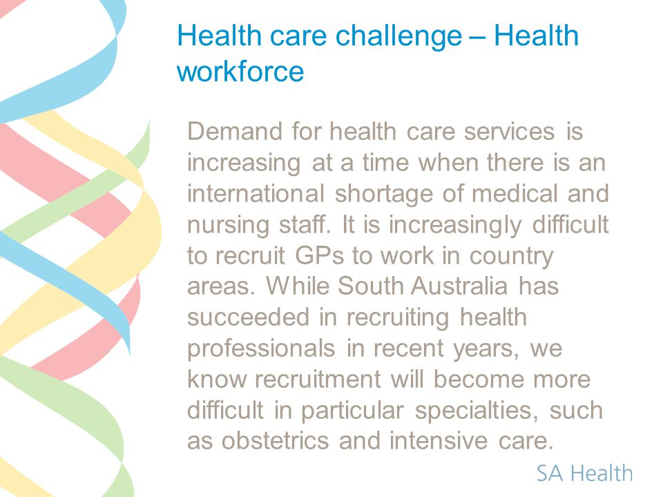 Demand for health care services is increasing at a time when there is an international shortage of medical and nursing staff. It is increasingly diffi
