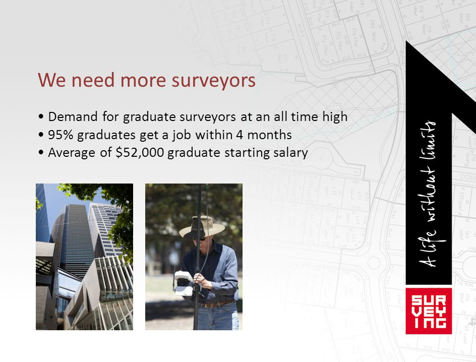 We need more surveyors Demand for graduate surveyors at an all time high 95% graduates get a job within 4 months Average of $52,000 graduate starting