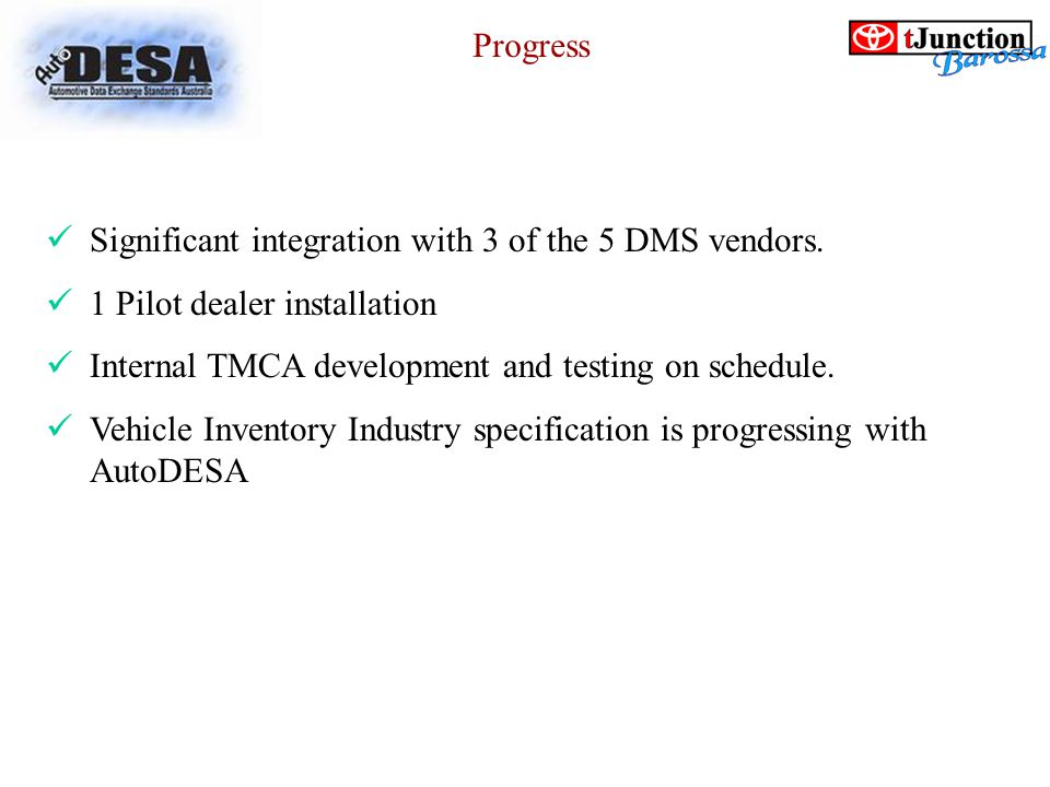 Significant integration with 3 of the 5 DMS vendors.