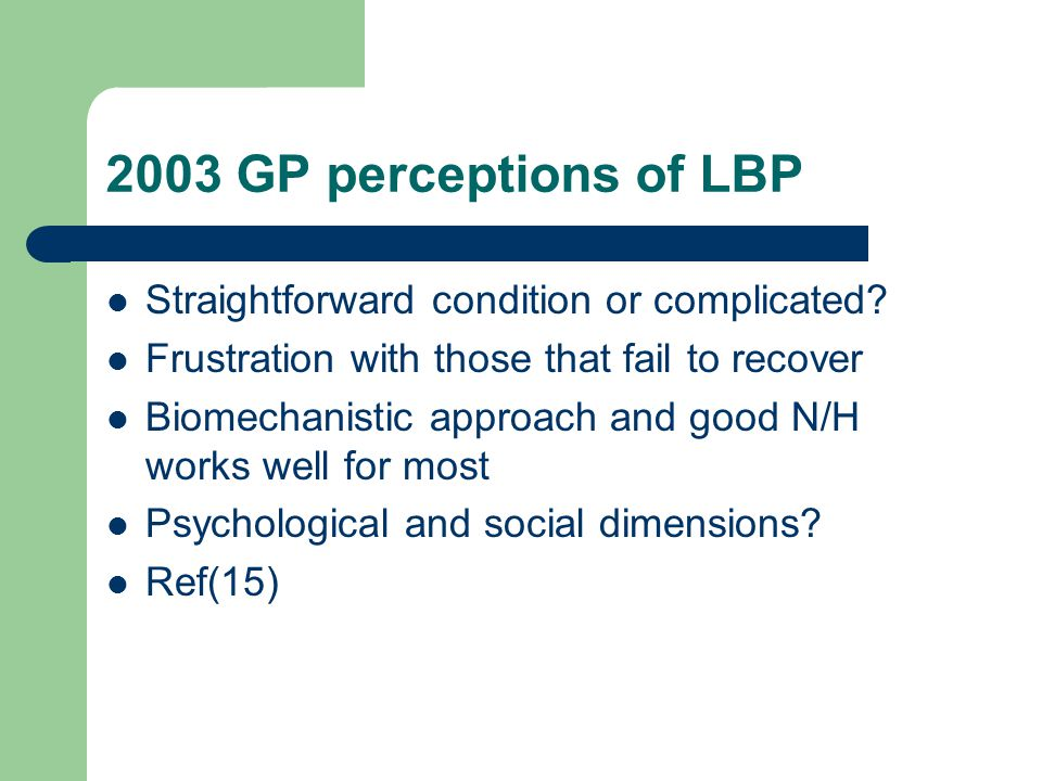 2003 GP perceptions of LBP Straightforward condition or complicated.