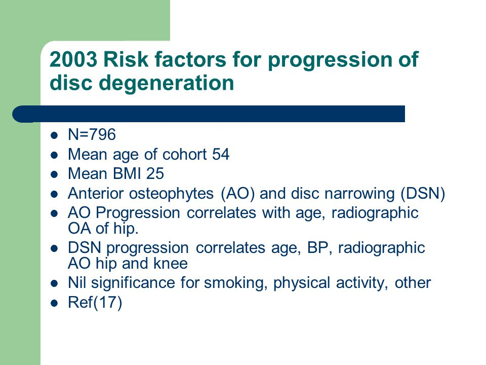 2003 Risk factors for progression of disc degeneration N=796 Mean age of cohort 54 Mean BMI 25 Anterior osteophytes (AO) and disc narrowing (DSN) AO P