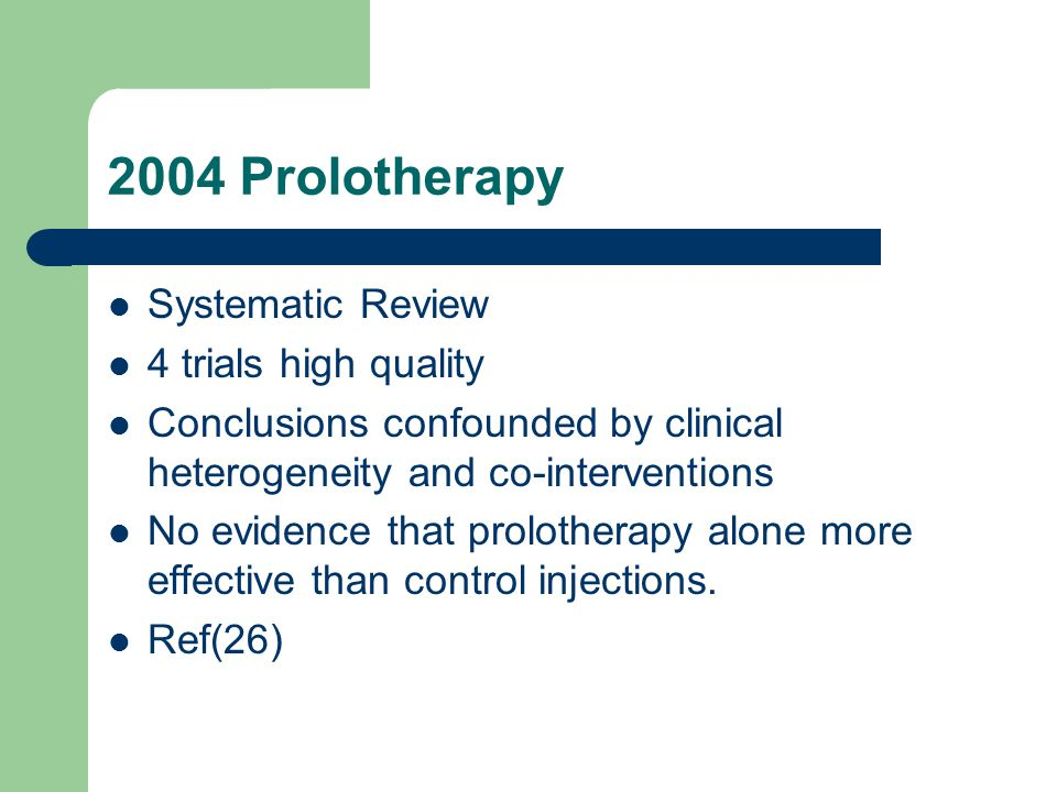 2004 Prolotherapy Systematic Review 4 trials high quality Conclusions confounded by clinical heterogeneity and co-interventions No evidence that prolo
