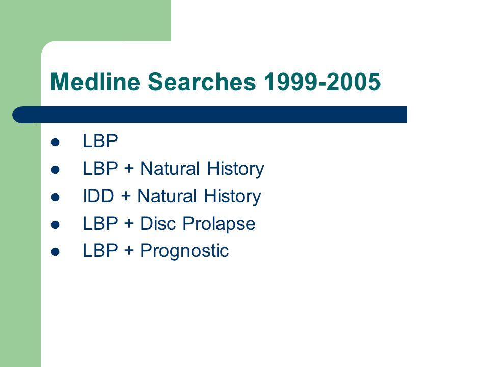 Medline Searches 1999-2005 LBP LBP + Natural History IDD + Natural History LBP + Disc Prolapse LBP + Prognostic