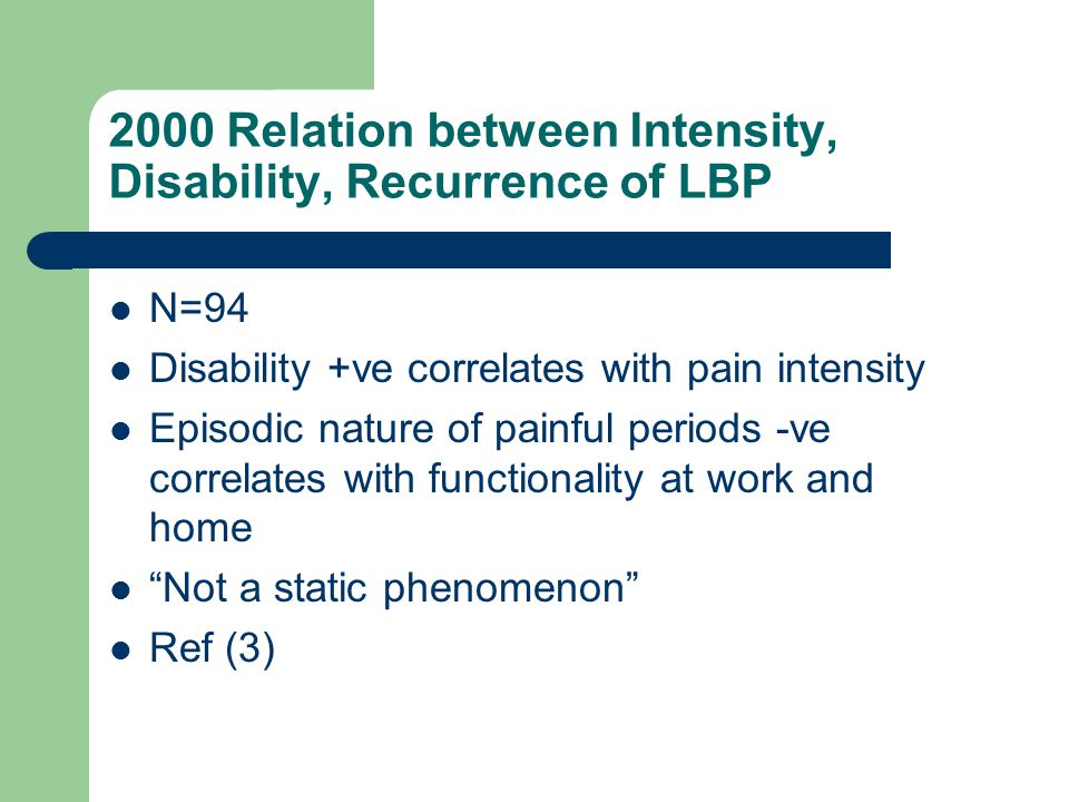 2000 Relation between Intensity, Disability, Recurrence of LBP N=94 Disability +ve correlates with pain intensity Episodic nature of painful periods -