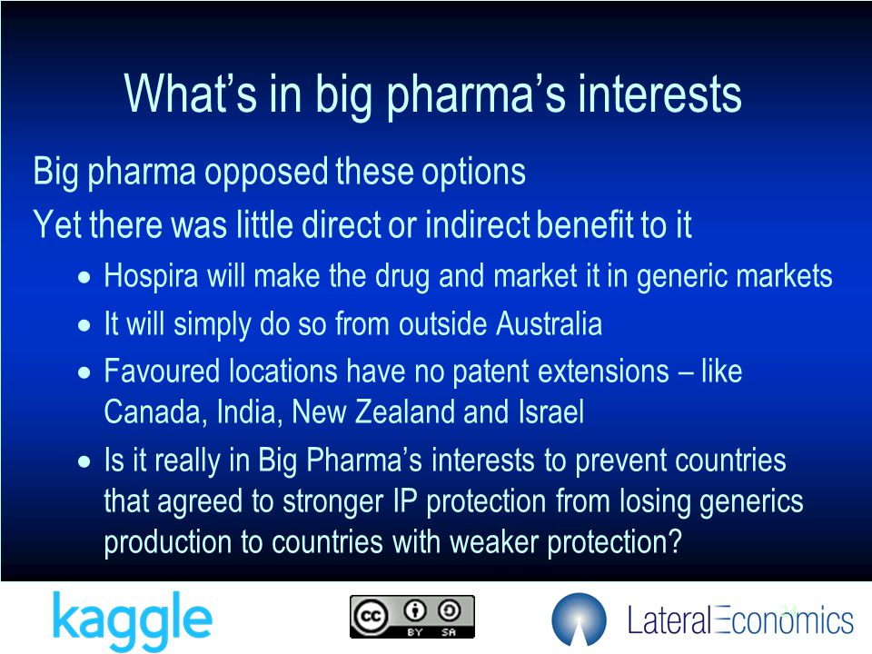 24 Big pharma opposed these options Yet there was little direct or indirect benefit to it  Hospira will make the drug and market it in generic markets  It will simply do so from outside Australia  Favoured locations have no patent extensions – like Canada, India, New Zealand and Israel  Is it really in Big Pharma's interests to prevent countries that agreed to stronger IP protection from losing generics production to countries with weaker protection.