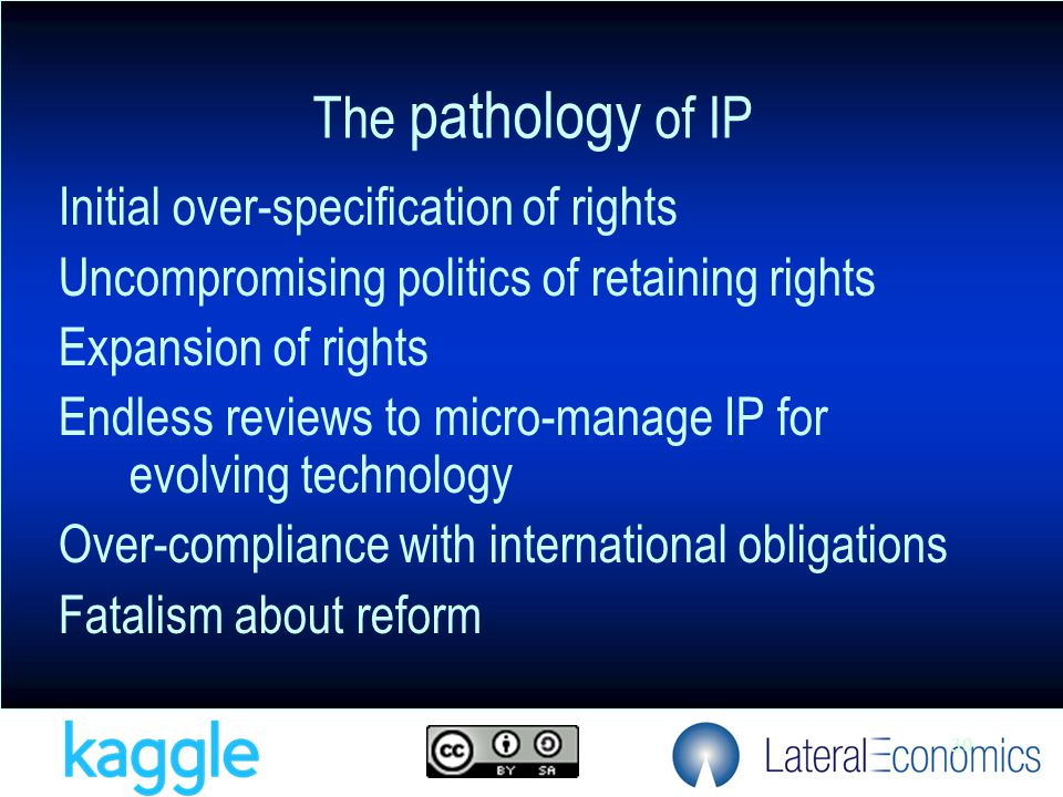 30 Initial over-specification of rights Uncompromising politics of retaining rights Expansion of rights Endless reviews to micro-manage IP for evolving technology Over-compliance with international obligations Fatalism about reform The pathology of IP