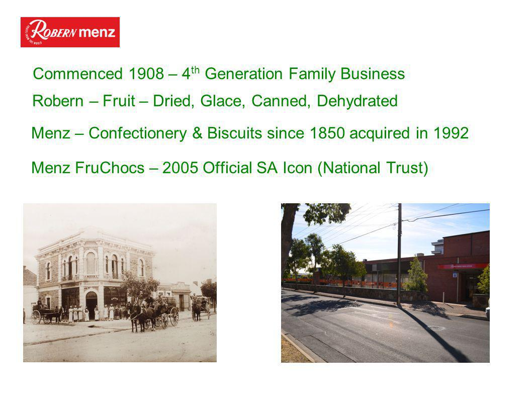 Commenced 1908 – 4 th Generation Family Business Robern – Fruit – Dried, Glace, Canned, Dehydrated Menz – Confectionery & Biscuits since 1850 acquired