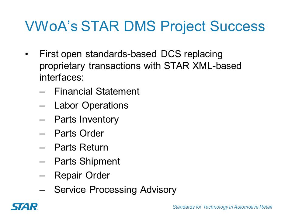 Standards for Technology in Automotive Retail VWoA's STAR DMS Project Success First open standards-based DCS replacing proprietary transactions with S