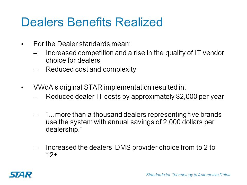 Standards for Technology in Automotive Retail Dealers Benefits Realized For the Dealer standards mean: –Increased competition and a rise in the qualit