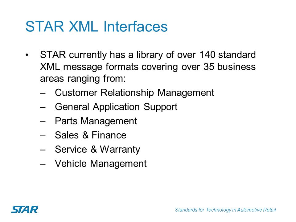 Standards for Technology in Automotive Retail STAR XML Interfaces Dealer & General Support Service & RepairCustomerVehicle Mgt & Sales Parts Mgt Confirm BODLabor OperationsCredit ApplicationInitiative DownloadParts Activity Financial StatementModel CodesCredit ContractRetail Delivery Reporting Parts DISPO Standard CodesRepair OrderCredit Contract Response Validate InitiativesParts Inventory Service PlanCredit DecisionVehicle InventoryParts Invoice Service Processing Advisory Dealer LocatorVehicle InvoiceParts Locator Vehicle Service History Sales LeadVehicle OrderParts Master Service AppointmentVehicle PaymentsParts Order Vehicle RemarketingParts Pick List Vehicle SpecificationsParts Price List Parts Return Parts Shipment NOTE: This information is based on a voluntary members-only implementation survey and does not reflect all STAR Member and Non-member implementations.
