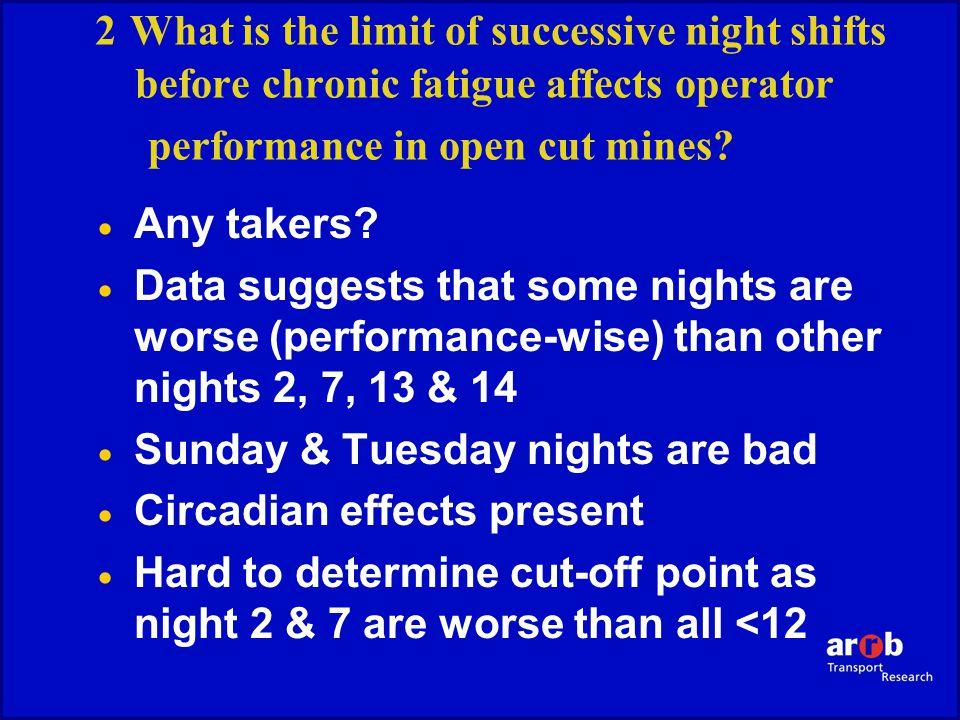 2 What is the limit of successive night shifts before chronic fatigue affects operator performance in open cut mines.