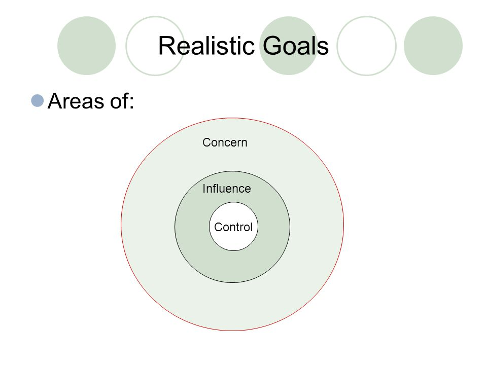 Areas of: Concern Influence Control Realistic Goals