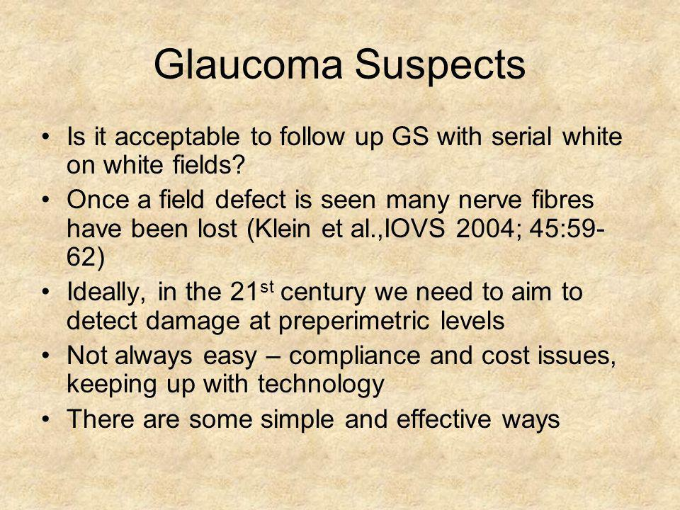 Glaucoma Suspects Is it acceptable to follow up GS with serial white on white fields? Once a field defect is seen many nerve fibres have been lost (Kl
