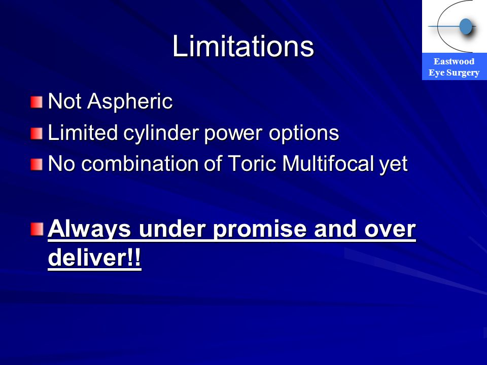 Eastwood Eye Surgery Limitations Not Aspheric Limited cylinder power options No combination of Toric Multifocal yet Always under promise and over deli