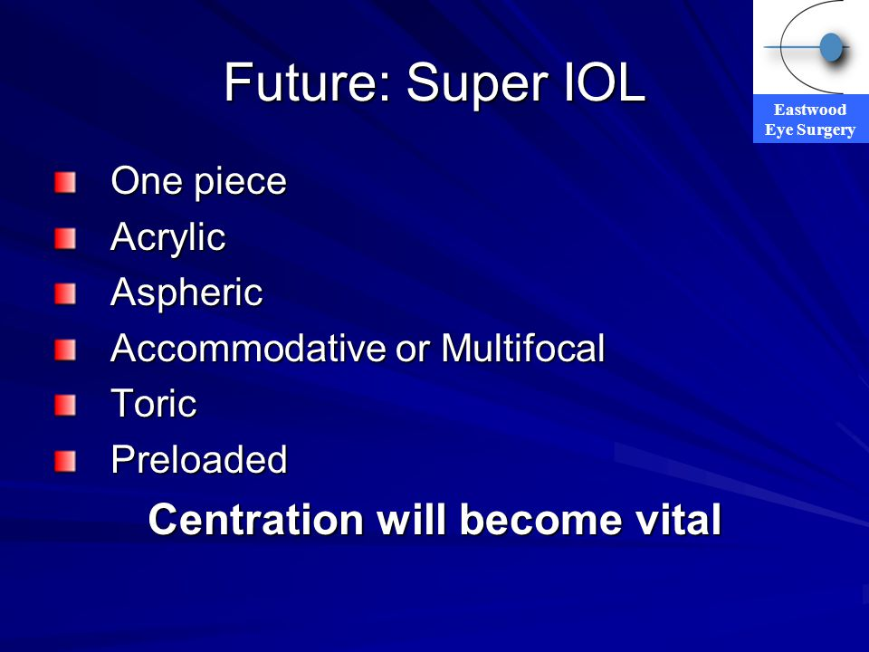 Eastwood Eye Surgery Future: Super IOL One piece AcrylicAspheric Accommodative or Multifocal ToricPreloaded Centration will become vital